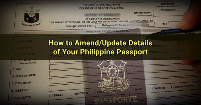 Updating Details on your Philippine Passport in Singapore