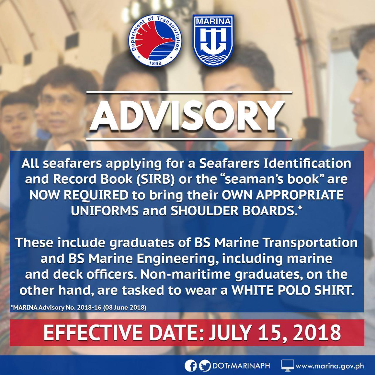 ADVISORY] New Requirement for Seaman's Book Application Now