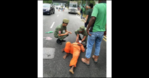 Foreign Worker Brought to Hospital after getting Involved in a Minibus Accident