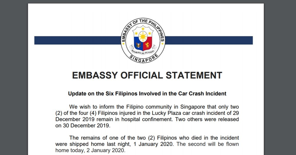 embassy statement on filipino car crash lucky plaza